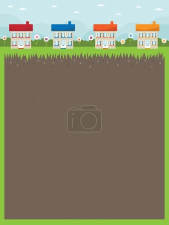 Illustration for Nature frame background with row of houses and daisies - Royalty Free Image