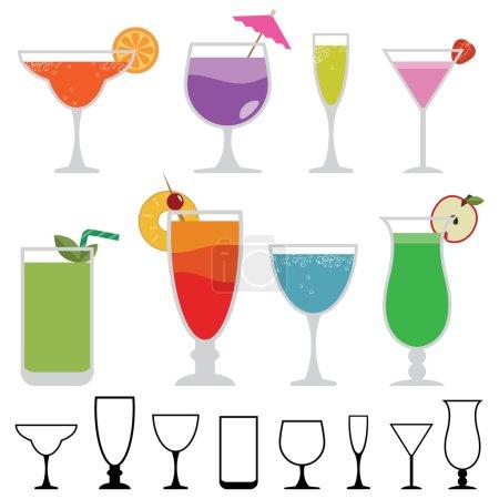 Illustration pour Collection de verres funky avec boissons cocktail colorées isolées sur blanc - image libre de droit