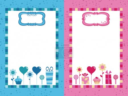 Blue and pink party frames