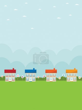 Illustration for Nature background with row of houses and daisies - Royalty Free Image
