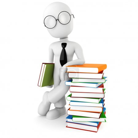 3d man holding colorful books