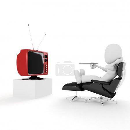 3d man watching tv