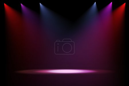 3d stage lights on black background