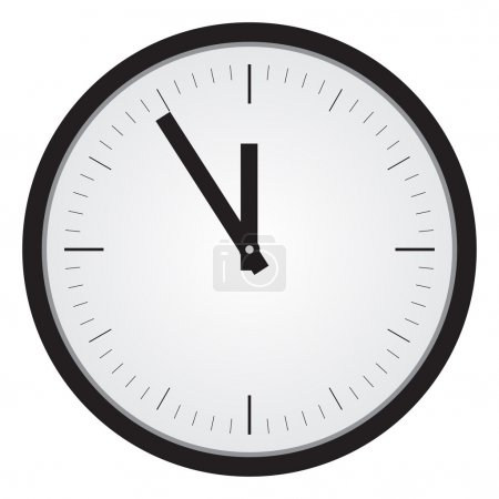 Illustration for Simple black clock illustration. White background. - Royalty Free Image