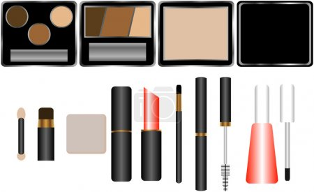 Set of Cosmetics with Applicators