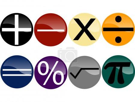 Set of Math Symbols on Multi-Colored But