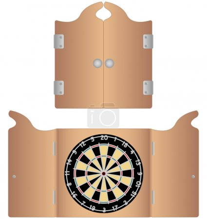Open and Closed Dartboard Cabinet