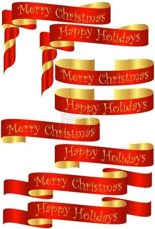 Ilustración de Set de Navidad roja pancartas con acentos de oro - Imagen libre de derechos