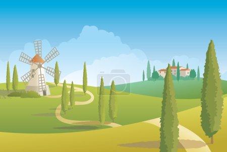Illustration pour Paysage rural toscan avec route et moulin - image libre de droit