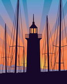 Lighthouse at the sunrise