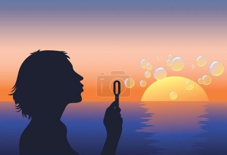 Illustration for Silhouette of young woman with soap bubbles on the sunset seascape background - Royalty Free Image