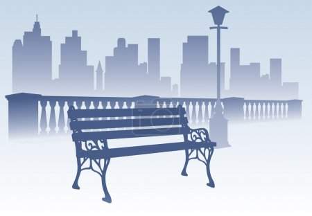 Park bench on the city background
