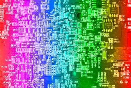 Photo for Computer motherboard circuit in gradient colors. Use for texture or background - Royalty Free Image