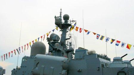 Docked military battleship