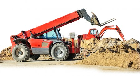 Two construction machines isolated on white...