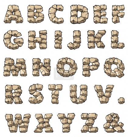 Photo pour Alphabet de Pierre: 26 lettres Abc, esperluette et dot, dessin police, raster de l'illustration à la main - image libre de droit