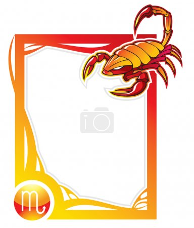 Illustration for Scorpio, the eighth sign from the series of the zodiac frames in cartoon style, vector illustration - Royalty Free Image