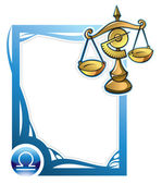 Libra the seventh sign from the series of the zodiac frames in cartoon style vector illustration