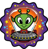 Vector illustration of a friendly alien flying in a UFO Vector file is well-organized and labelled All objects and elements can be easily changed