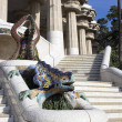 Park Guell, dragon fountain at the main entrance,h...