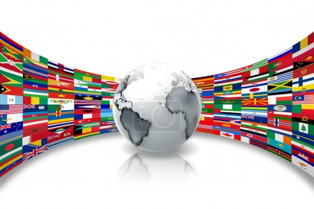 Photo pour Planète abstraite sur fond de drapeaux du monde - image libre de droit