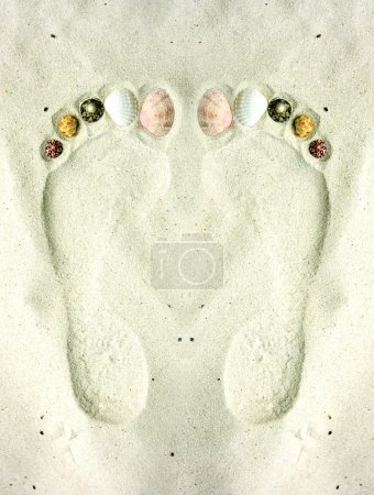 Photo for Human footprints on the sand decorated with shells - Royalty Free Image