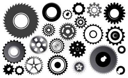 Illustration for Set of gear wheels - this image is a vector illustration - Royalty Free Image