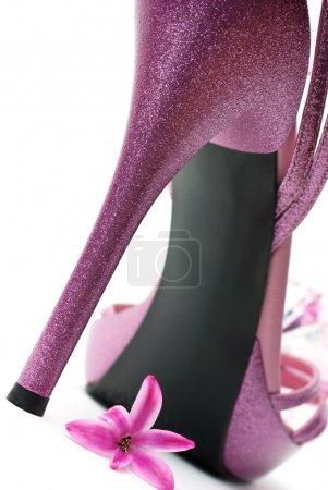Pink fashion high heels shoe