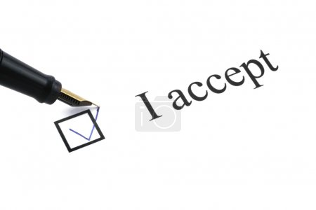 I accept with a box ticked on white background...