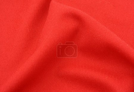Red cotton fabric with crease
