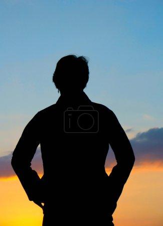 Photo pour Silhouette coucher de soleil - image libre de droit