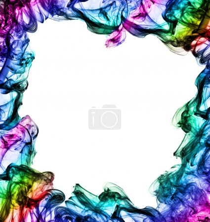 Photo for Colorful frame made of smoke on white background - Royalty Free Image