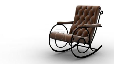 Photo pour Un fauteuil à bascule brun isolé sur blanc - image libre de droit