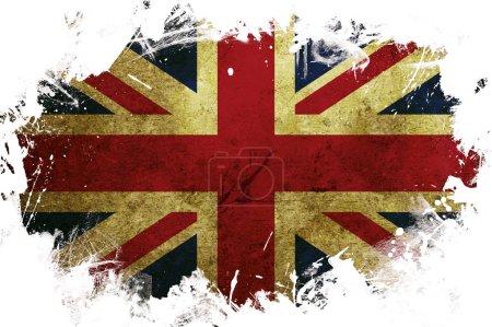 Photo pour Un drapeau de la Grande-Bretagne avec une bordure blanche peinte - image libre de droit