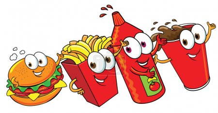 Photo for Happy fast food set - Royalty Free Image