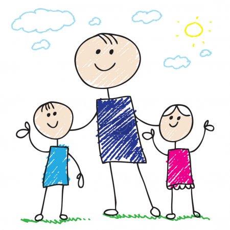 Illustration pour Famille Doodle - image libre de droit