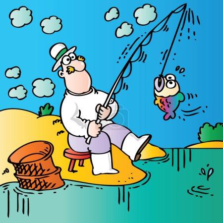 Illustration for Funny fisherman - Royalty Free Image