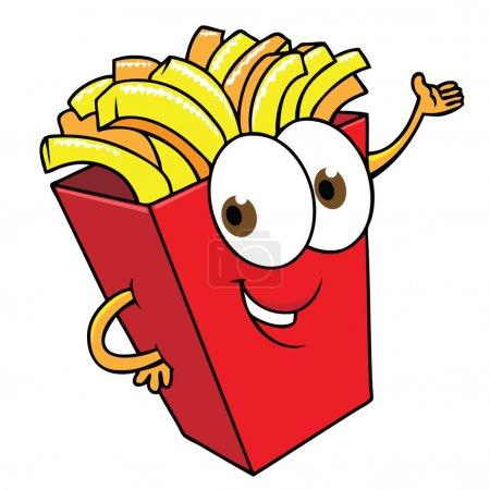 Illustration pour Drôle de dessin animé frites smilimng - image libre de droit