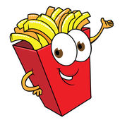 Funny cartoon french fries smilimng