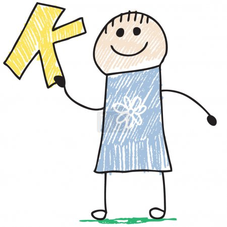 Photo for Doodle style illustration of a child holding letter K - Royalty Free Image