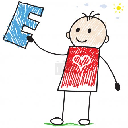 Photo for Doodle style illustration of a child holding letter E - Royalty Free Image