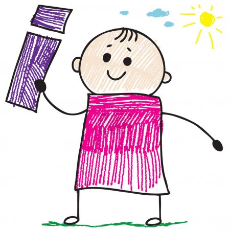 Photo for Doodle style illustration of a child holding letter I - Royalty Free Image