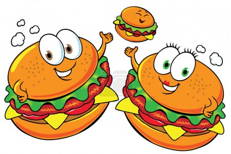 Photo for Happy fast food family - Royalty Free Image