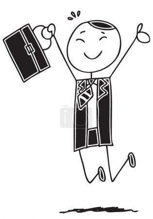Photo for Doodle style illustration of a happy businessman - Royalty Free Image