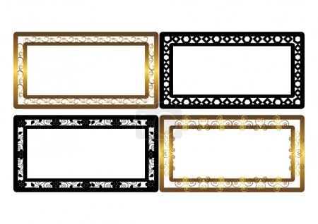Set of golden and black frames. Vector.