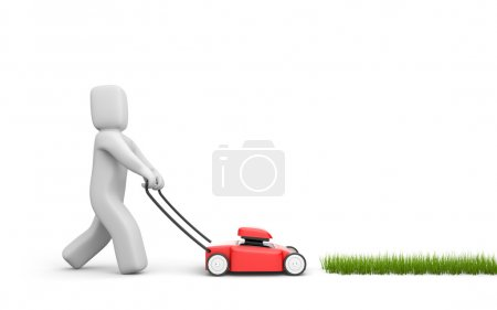 Person mow a grass