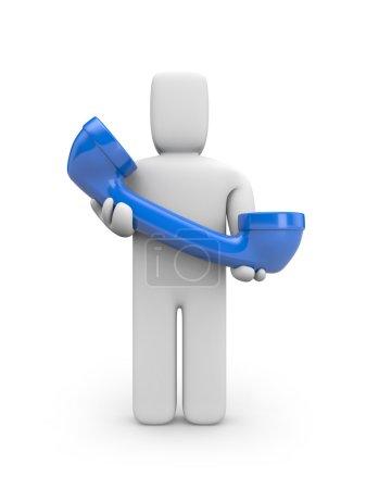 Foto de Esperando tus llamadas. concepto de comunicación. aislado en blanco. - Imagen libre de derechos