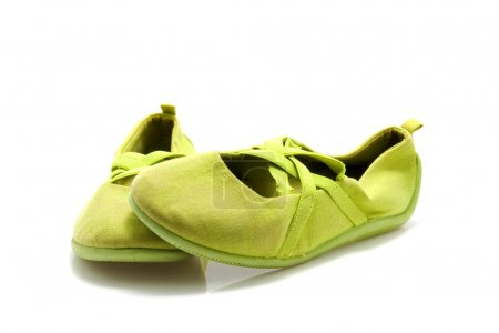 Pair of green ballet shoes
