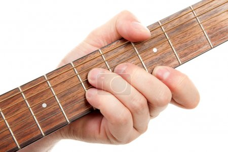 Photo for Hand is playing the guitar in closeup over white background - Royalty Free Image