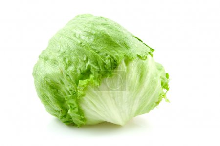 Photo for Fresh iceberg lettuce isolated on white background - Royalty Free Image
